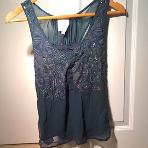 Saivana bead and embroidered top Anthropologie